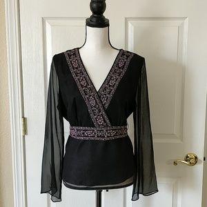 ICE silk beaded top black sz L prom ready